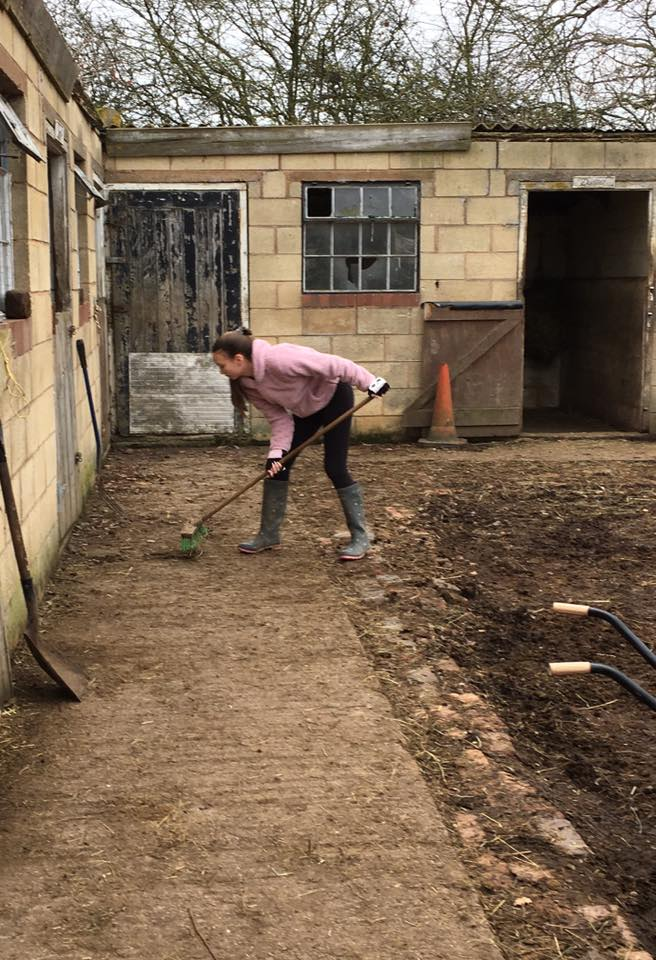 Sweeping the stable yard